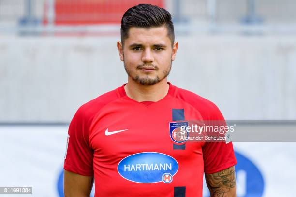 Marnon Busch of 1 FC Heidenheim poses during the team presentation at Voith Arena on July 8 2017 in Heidenheim Germany