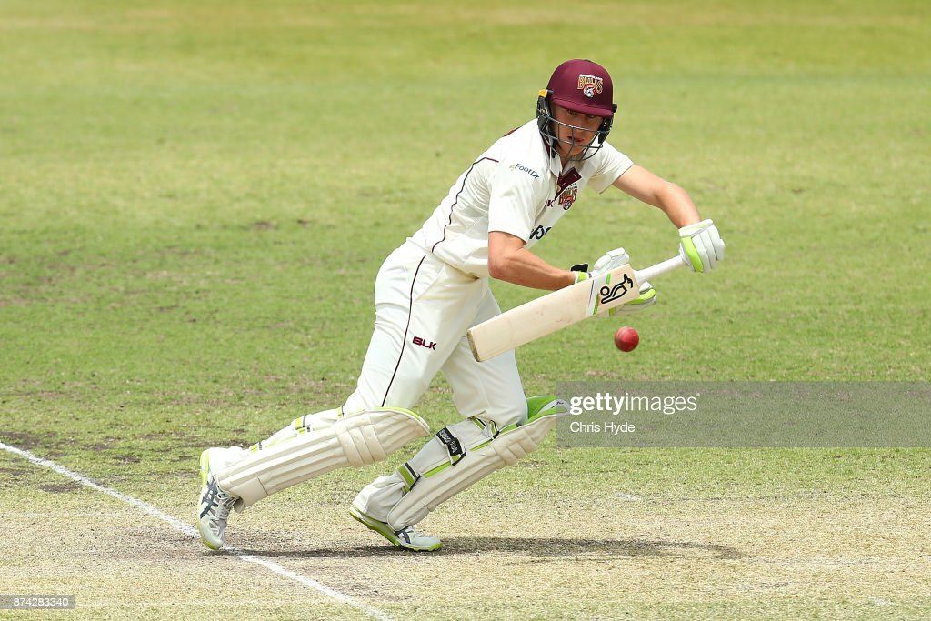 Marnus Labuschagne of Queensland bats during day three of the Sheffield Shield match between Queensland and New South Wales at Allan Border Field on November 15, 2017 in Brisbane, Australia.