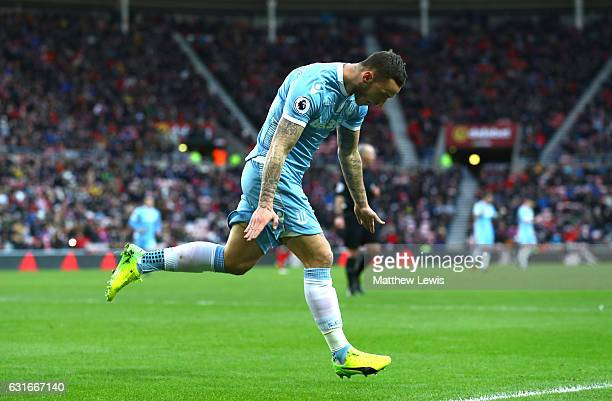 Maro Arnautovic of Stoke City celebrates scoring his sides first goal during the Premier League match between Sunderland and Stoke City at Stadium of...