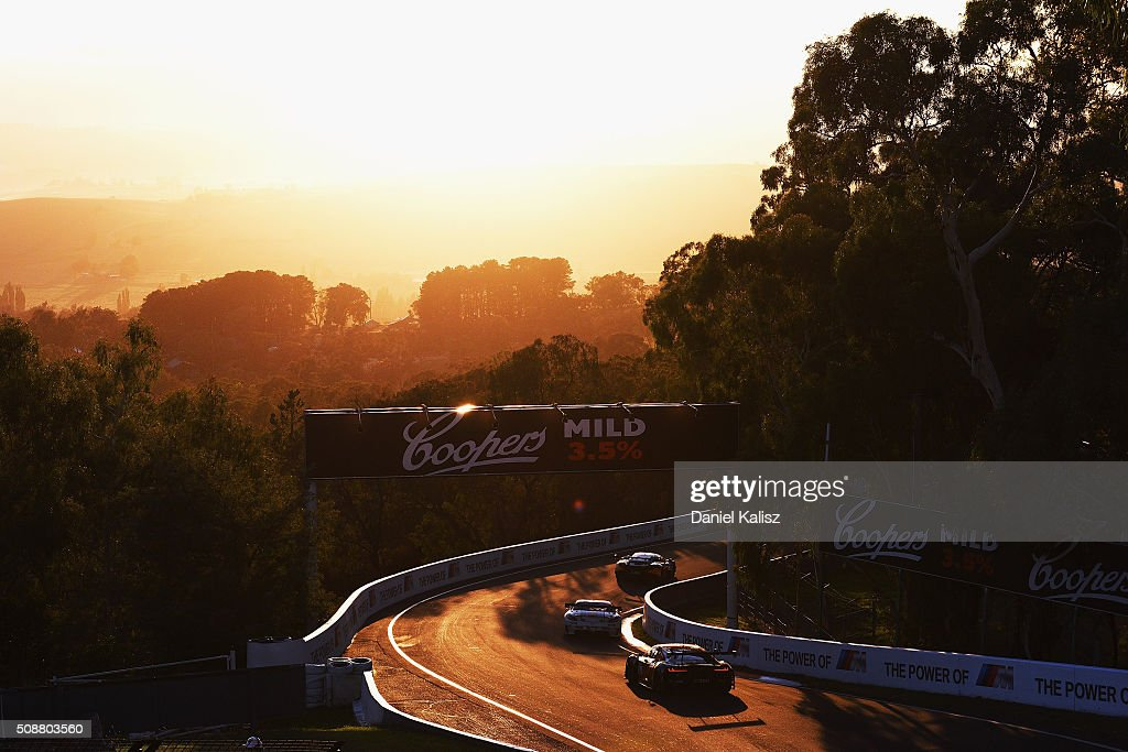 Maro Engel drives the #63 Erebus Motorsport Mercedes-Benz SLS AMG GT3 during the Bathurst 12 Hour Race at Mount Panorama on February 7, 2016 in Bathurst, Australia.