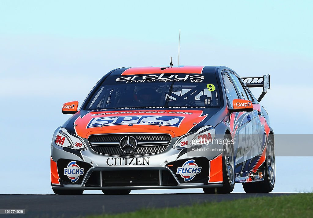 Maro Engel drives the #9 SP Tools Racing Mercedes during the 2013 Official V8 Supercars test day at Sydney Motorsport Park on February 16, 2013 in Sydney, Australia.