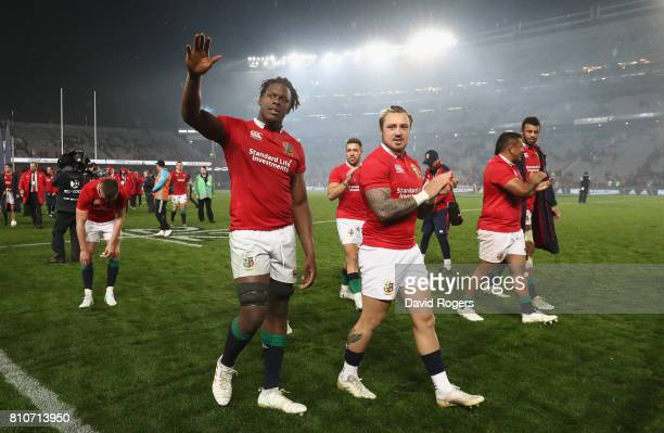 Maro Itoje and Jack Nowell of the Lions acknowedge the support of the Lions supporters after they draw the final test 1515 and tie the series during...