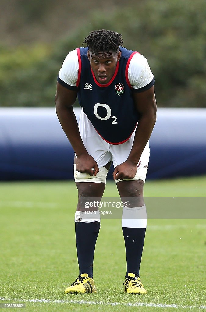 Maro Itoje looks on during the England training session held at Pennyhill Park on February 4, 2016 in Bagshot, England.
