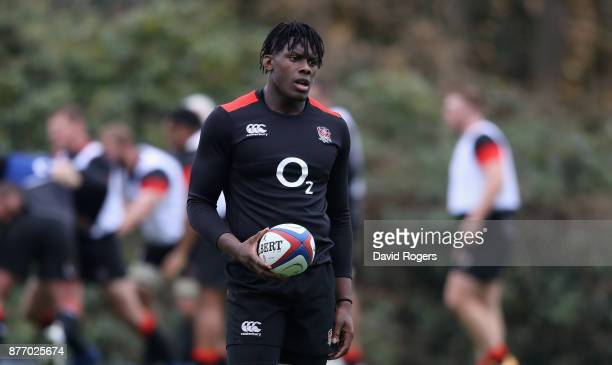 Maro Itoje looks on during the England training session held at Pennyhill Park on November 21 2017 in Bagshot England