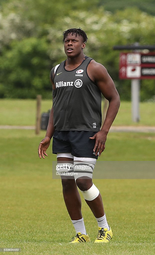 <a gi-track='captionPersonalityLinkClicked' href=/galleries/search?phrase=Maro+Itoje&family=editorial&specificpeople=5967858 ng-click='$event.stopPropagation()'>Maro Itoje</a> looks on during the Saracens training session held on May 24, 2016 in St Albans, England.
