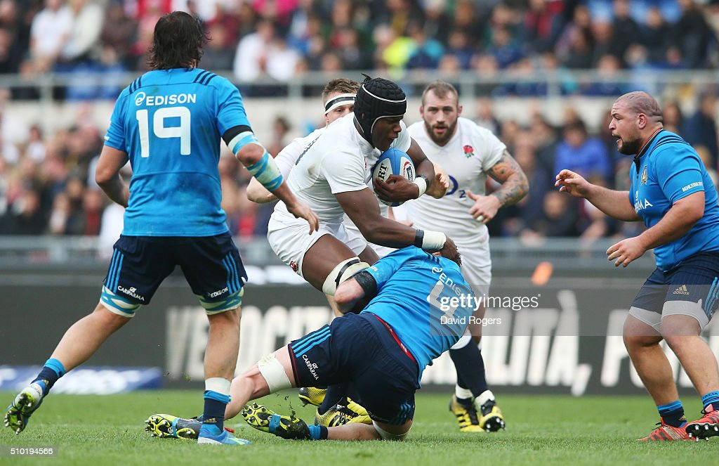 <a gi-track='captionPersonalityLinkClicked' href=/galleries/search?phrase=Maro+Itoje&family=editorial&specificpeople=5967858 ng-click='$event.stopPropagation()'>Maro Itoje</a> of England charges into George Biagi of Italy during the RBS Six Nations match between Italy and England at the Stadio Olimpico on February 14, 2016 in Rome, Italy.