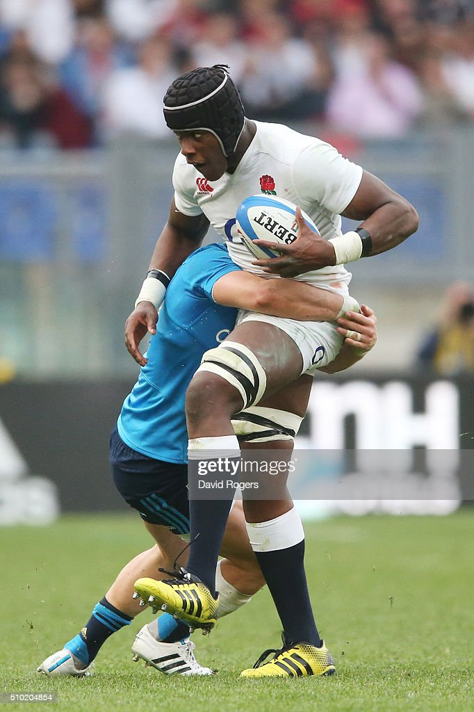 <a gi-track='captionPersonalityLinkClicked' href=/galleries/search?phrase=Maro+Itoje&family=editorial&specificpeople=5967858 ng-click='$event.stopPropagation()'>Maro Itoje</a> of England charges upfield during the RBS Six Nations match between Italy and England at the Stadio Olimpico on February 14, 2016 in Rome, Italy.