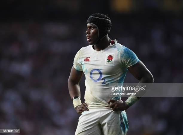 Maro Itoje of England looks on during the RBS Six Nations match between England and Scotland at Twickenham Stadium on March 11 2017 in London England
