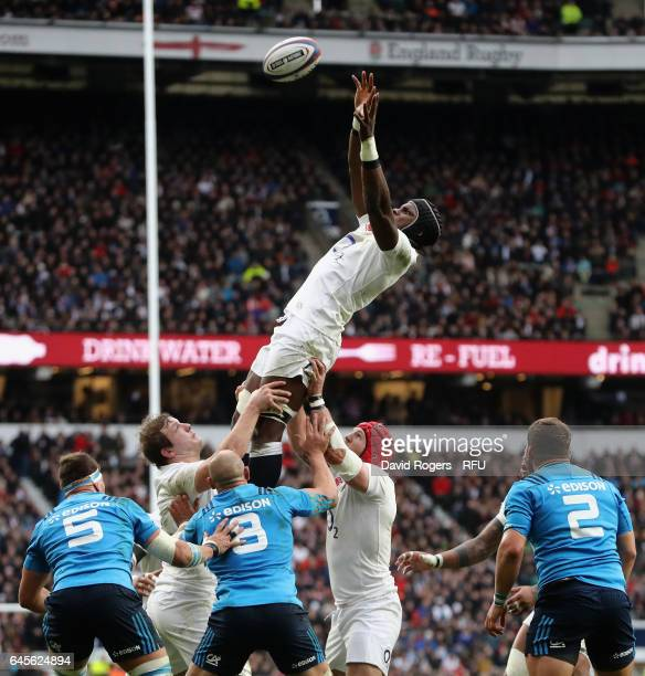 Maro Itoje of England wins the lineout during the RBS Six Nations match between England and Italy at Twickenham Stadium on February 26 2017 in London...