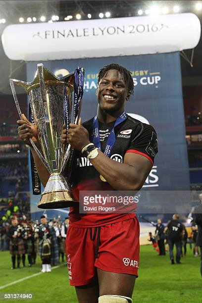 Maro Itoje of Saracens celebratea with the trophy after the European Rugby Champions Cup Final match between Racing 92 and Saracens at the Stade de...