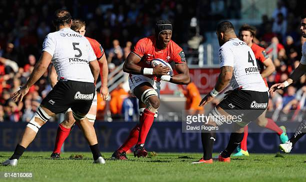 Maro Itoje of Saracens charges upfield during the European Rugby Champions Cup match between RC Toulon and Saracens at Stade Felix Mayol on October...