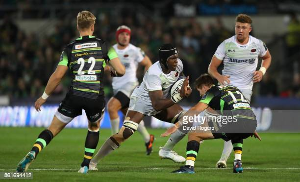 Maro Itoje of Saracens charges upfield during the European Rugby Champions Cup match between Northampton Saints and Saracens at Franklin's Gardens on...