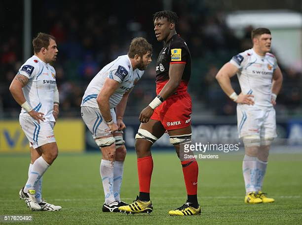 Maro Itoje of Saracens leaves the pitch after being shown a yellow card during the Aviva Premiership match between Saracens and Exeter Chiefs at...