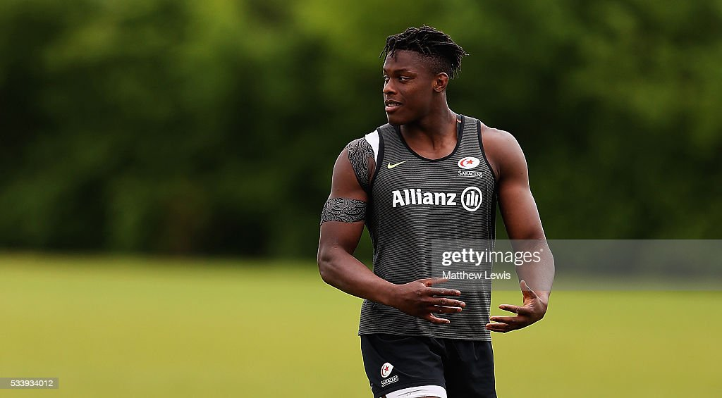 <a gi-track='captionPersonalityLinkClicked' href=/galleries/search?phrase=Maro+Itoje&family=editorial&specificpeople=5967858 ng-click='$event.stopPropagation()'>Maro Itoje</a> of Saracens looks on during a Saracens Training Session on May 24, 2016 in St Albans, England.