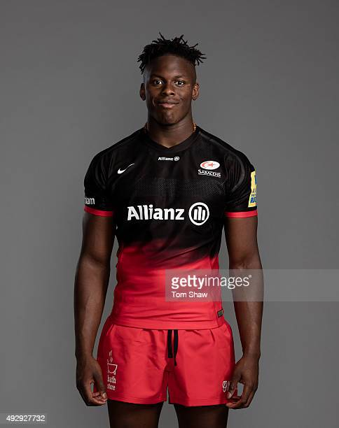 Maro Itoje of Saracens poses for a picture during the Saracens photocall for BT at Allianz Park on September 24 2015 in London England