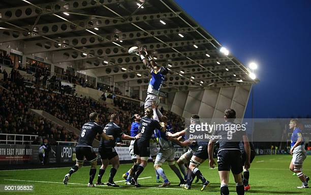 Maro Itoje of Saracens wins the lineout during the Aviva Premiership match between Newcastle Falcons and Saracens at Kingston Park on on December 6...