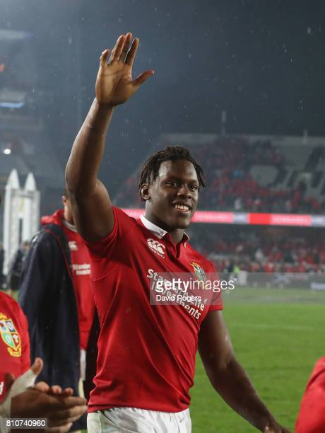 Maro Itoje of the Lions acknowedges the support of the Lions supporters after they draw the final test 1515 and tie the series during the Test match...