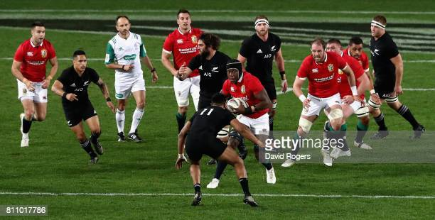 Maro Itoje of the Lions breaks with the ball during the Test match between the New Zealand All Blacks and the British Irish Lions at Eden Park on...