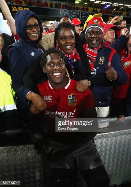 Maro Itoje of the Lions celebrates with his family after the draw in the final test 1515 and tie the series during the Test match between the New...