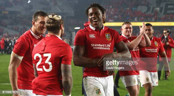 Maro Itoje of the Lions celebrates with team mates afterthe Test match between the New Zealand All Blacks and the British Irish Lions at Eden Park on...