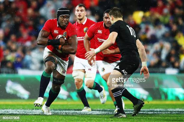 Maro Itoje of the Lions charges forward during the International Test match between the New Zealand All Blacks and the British Irish Lions at Westpac...