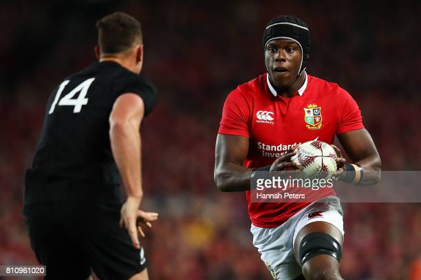 Maro Itoje of the Lions charges forward during the Test match between the New Zealand All Blacks and the British Irish Lions at Eden Park on July 8...