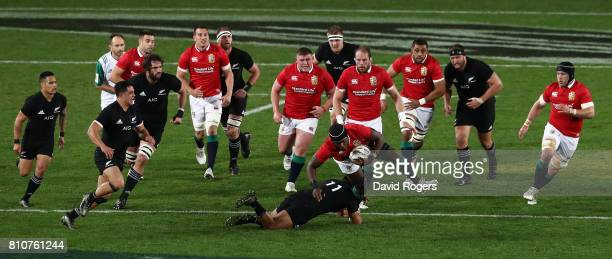 Maro Itoje of the Lions charges upfield during the Test match between the New Zealand All Blacks and the British Irish Lions at Eden Park on July 8...