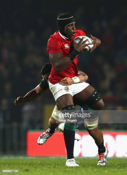 Maro Itoje of the Lions is tackled during the match between the New Zealand Maori and the British Irish Lions at Rotorua International Stadium on...