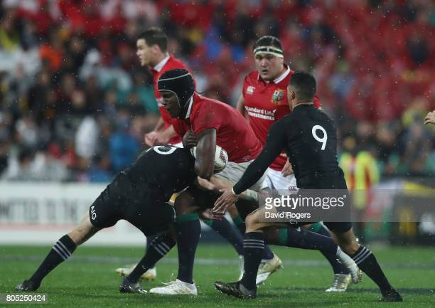 Maro Itoje of the Lions is tackled during the match between the New Zealand All Blacks and the British Irish Lions at Westpac Stadium on July 1 2017...