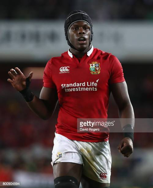 Maro Itoje of the Lions looks on during the Test match between the New Zealand All Blacks and the British Irish Lions at Eden Park on June 24 2017 in...