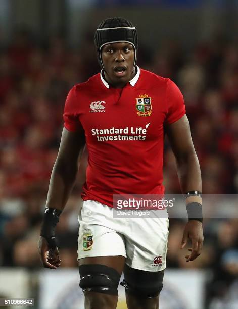 Maro Itoje of the Lions looks on during the Test match between the New Zealand All Blacks and the British Irish Lions at Eden Park on July 8 2017 in...