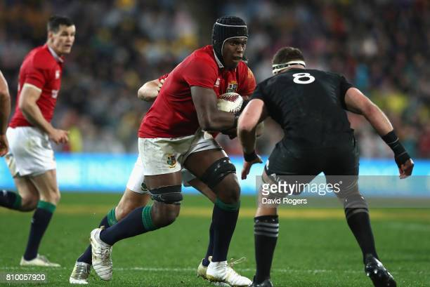 Maro Itoje of the Lions runs with the ball during the match between the New Zealand All Blacks and the British Irish Lions at Westpac Stadium on July...