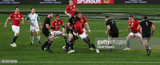 Maro Itoje of the Lions runs with the ball during the Test match between the New Zealand All Blacks and the British Irish Lions at Eden Park on July...