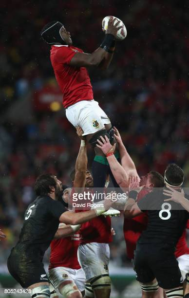 Maro Itoje of the Lions wins the lineout during the match between the New Zealand All Blacks and the British Irish Lions at Westpac Stadium on July 1...