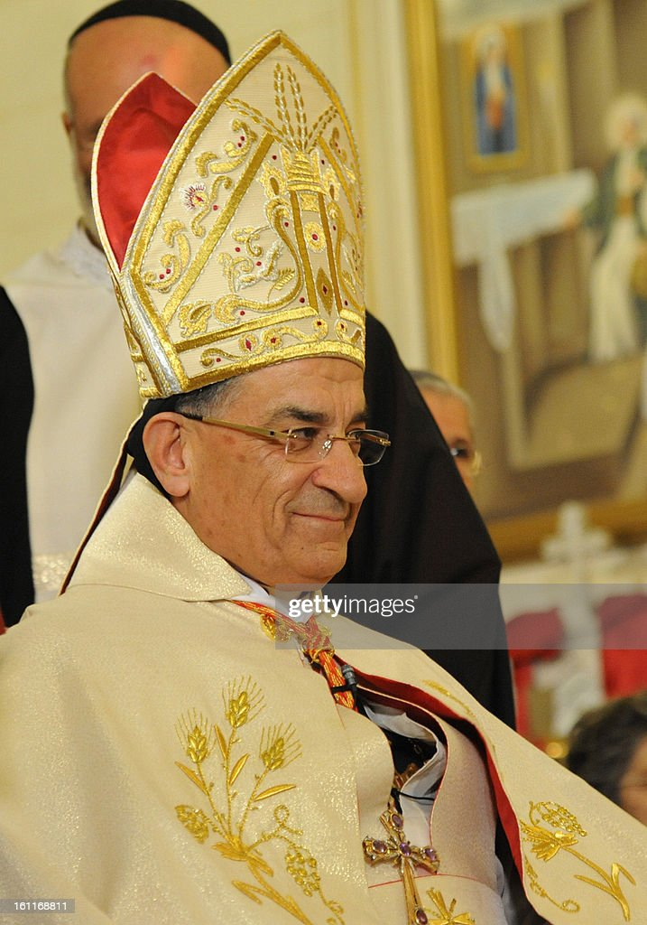 Maronite Patriarch Beshara Rai (C) attends mass at the Maronite Cathedral of Saint Anthony (Mar Antonios) in Bab Tuma, a predominantly Christian quarter of Damascus, on February 9, 2013. Rai's visit -- the first by a Maronite patriarch since Syrian and Lebanese independence in 1943 -- comes as the revolt against Syrian President Bashar al-Assad's regime nears the two-year mark.