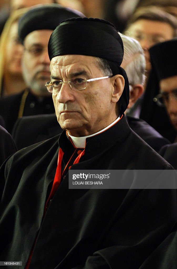 Maronite Patriarch Beshara Rai attends the enthronement of Syria's Greek Orthodox leader Yuhanna X Yazigi at the Holy Cross church in Damascus, during the first visit by a Maronite patriarch since Syrian independence in 1943, on February 10, 2013. Snipers were deployed on the rooftops around the church as dignitaries from Middle East churches arrived for the enthronement.