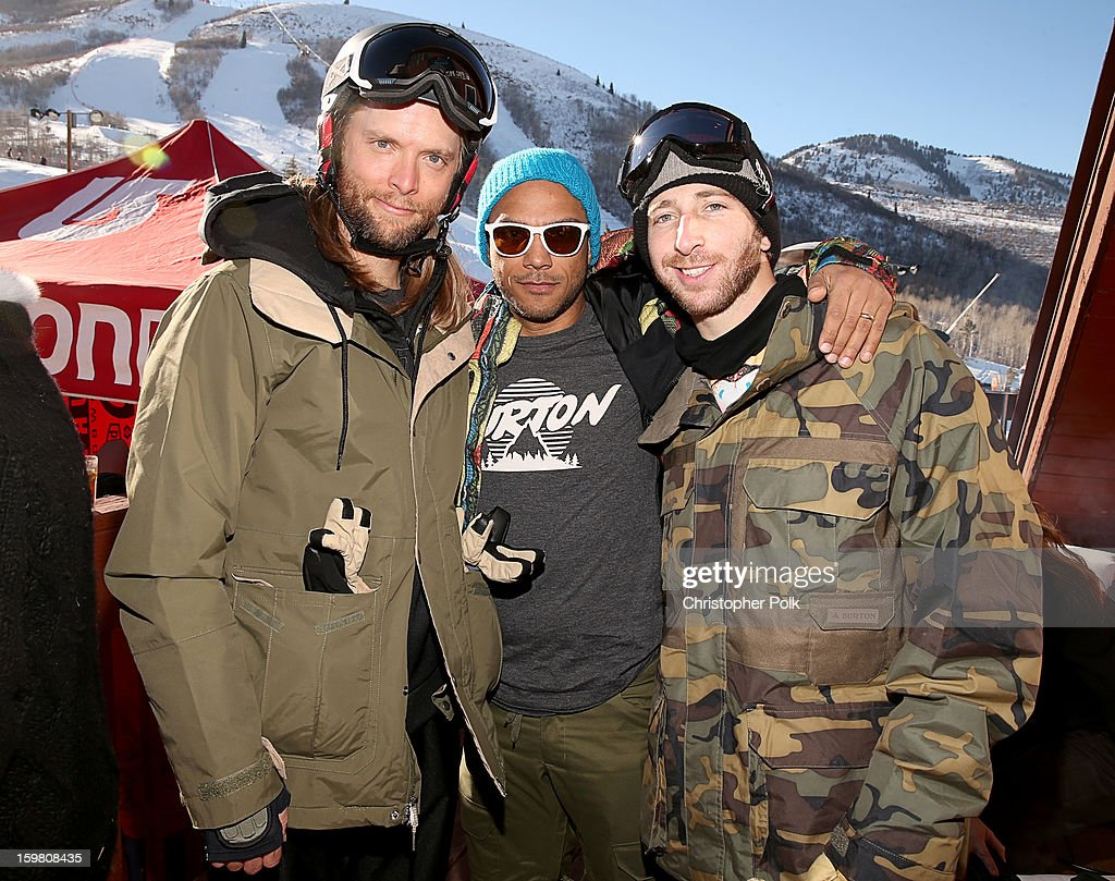 Maroon 5 band member James Valentine, Luis Calderin and Burton Pro Rider Jack Mitrani attend Burton Learn To Ride - Day 2 on January 20, 2013 in Park City, Utah.