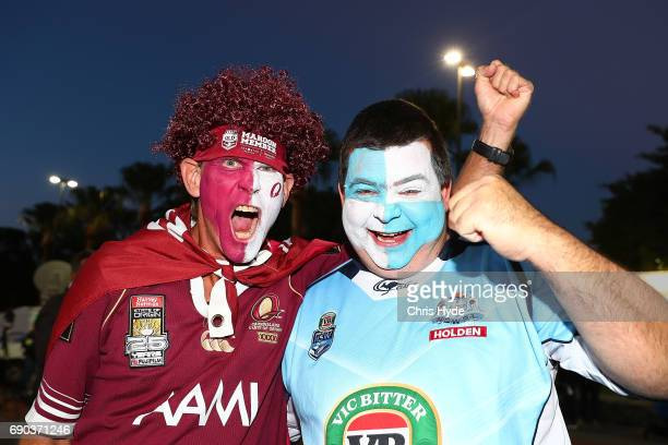 Maroon and Blues fans arrive for the State Of Origin series between the Queensland Maroons and the New South Wales Blues at Suncorp Stadium on May 31...