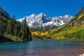 the scenic maroon bells near Aspen Colorado in fall