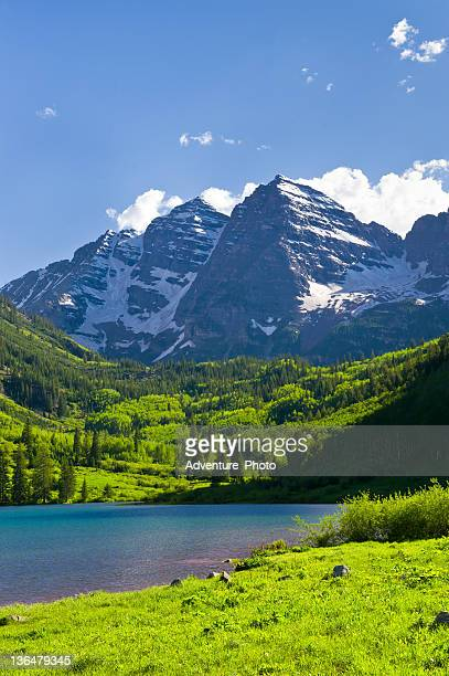 Maroon Bells in Summer Aspen Colorado