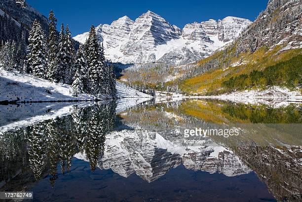 Maroon Bells October Snow and Reflections