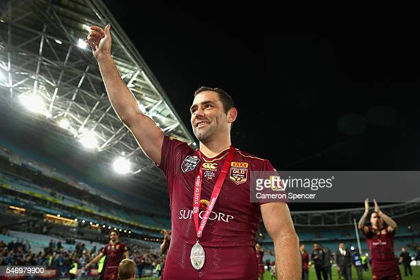 Maroons captain Cameron Smith thanks fans after winning the series following game three of the State Of Origin series between the New South Wales...