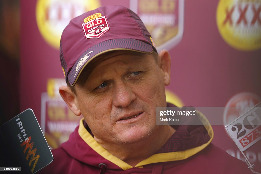 Maroons coach Kevin Walters speaks to the media before a Queensland Maroons State Of Origin captain's run at ANZ Stadium on May 31, 2016 in Sydney, Australia.