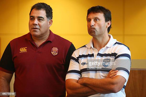 Maroons coach Mal Meniga and Blues coach Laurie Daley look on during a media opportunity ahead of the 100th State of Origin match at Suncorp Stadium...