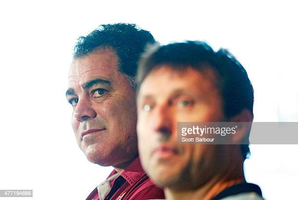 Maroons coach Mal Meninga and Blues coach Laurie Daley speak to the media before game two of the State of Origin series between the New South Wales...