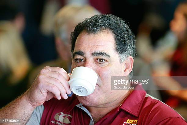 Maroons coach Mal Meninga drinks a cup of tea during a press conference before game two of the State of Origin series between the New South Wales...