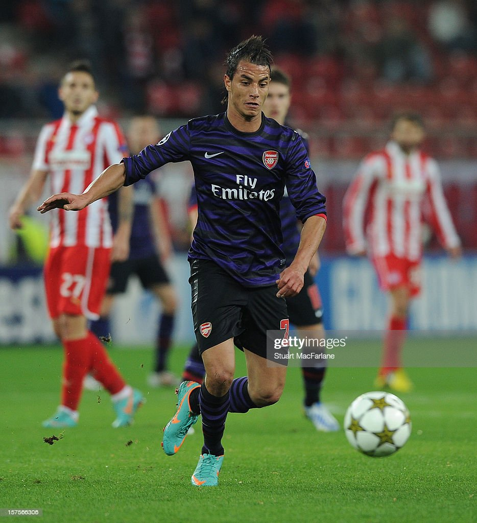 <a gi-track='captionPersonalityLinkClicked' href=/galleries/search?phrase=Marouane+Chamakh&family=editorial&specificpeople=727555 ng-click='$event.stopPropagation()'>Marouane Chamakh</a> of Arsenal during the UEFA Champions League Group B match between Olympiacos FC and Arsenal FC at Georgios Karaiskakis Stadium on December 04, 2012 in Athens, Greece.