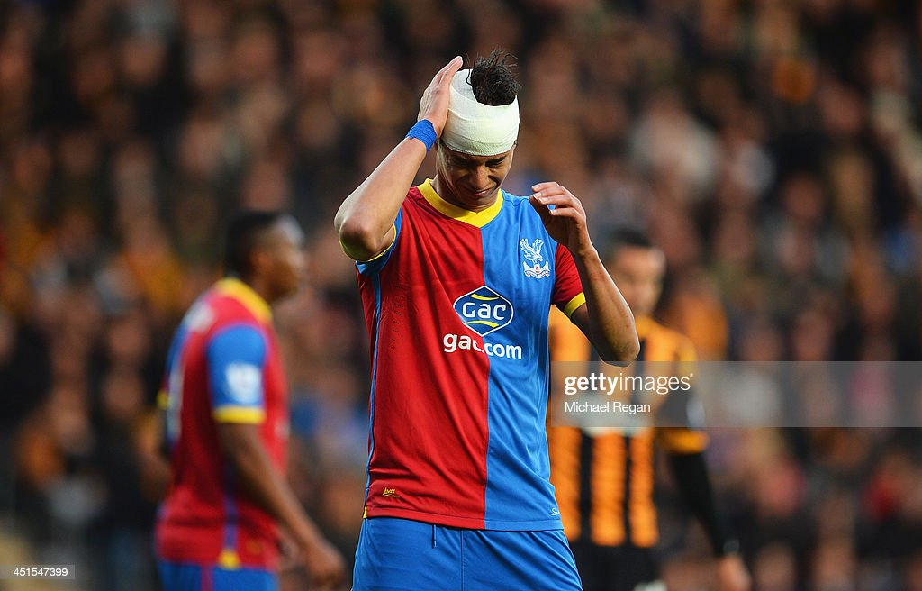 Marouane Chamakh of Crystal Palace holds his bandaged head during the Barclays Premier League match between Hull City and Crystal Palace at KC Stadium on November 23, 2013 in Hull, England.