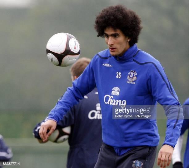 Marouane Fellaini during a training session at Finch Farm Training Complex Halewood ahead of their FA Cup Semi Final match against Manchester United...