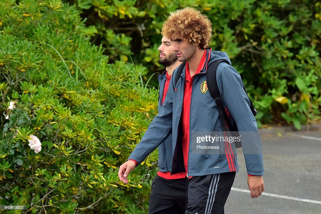 Marouane Fellaini midfielder of Belgium and Yannick Carrasco forward of Belgium pictured before a closed training session of the National Soccer Team of Belgium as part of the preparation prior to the UEFA EURO 2016 quarter final match between Wales and Belgium at the Chateau de Haillan training center on June 29, 2016 in Bordeaux, France ,